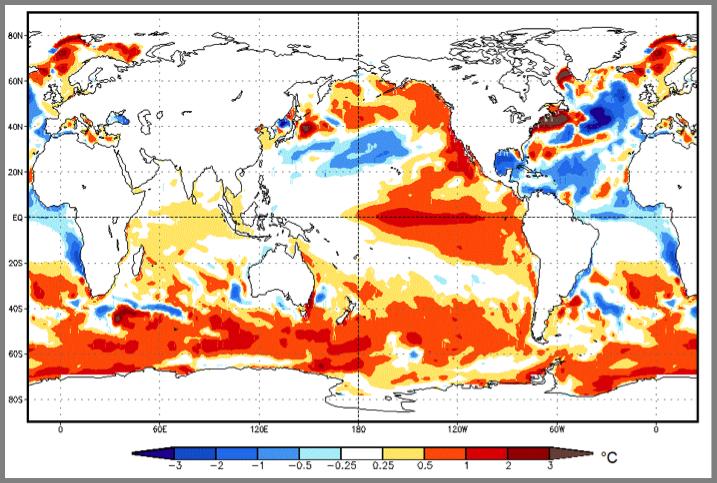 Figura Nº 4 – Pronóstico NOAA de las Anomalías de la Temperatura del Mar para Enero – Marzo 2015